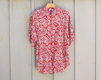 Southwestern Shirt - 80s Button Down Shirt - Retro Aztec Pattern Top - Short Sleeve Shirt - Hipster Shirt - Indie Top - Boho Shirt - 1980s