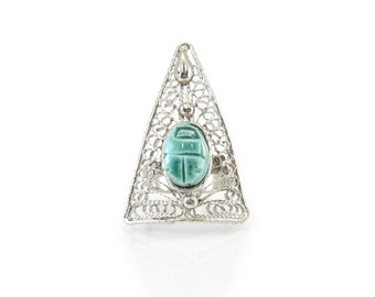 Vintage Egyptian Scarab Ring, Filigree, Triangle, Silver Tone, Adjustable