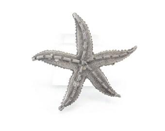 Vintage Pewter Starfish Brooch, Detailed