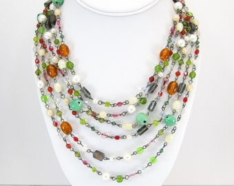 Vintage Art Glass Bead Necklace, Multi Strands, Faux Pearls, Colored Beads,