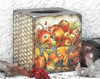 Wooden Napkin Holder-Wooden Tissue Box-Rustic Country Kitchen decor-Fall Decorations- Decoupage Tissue Box-Autumn Decorations