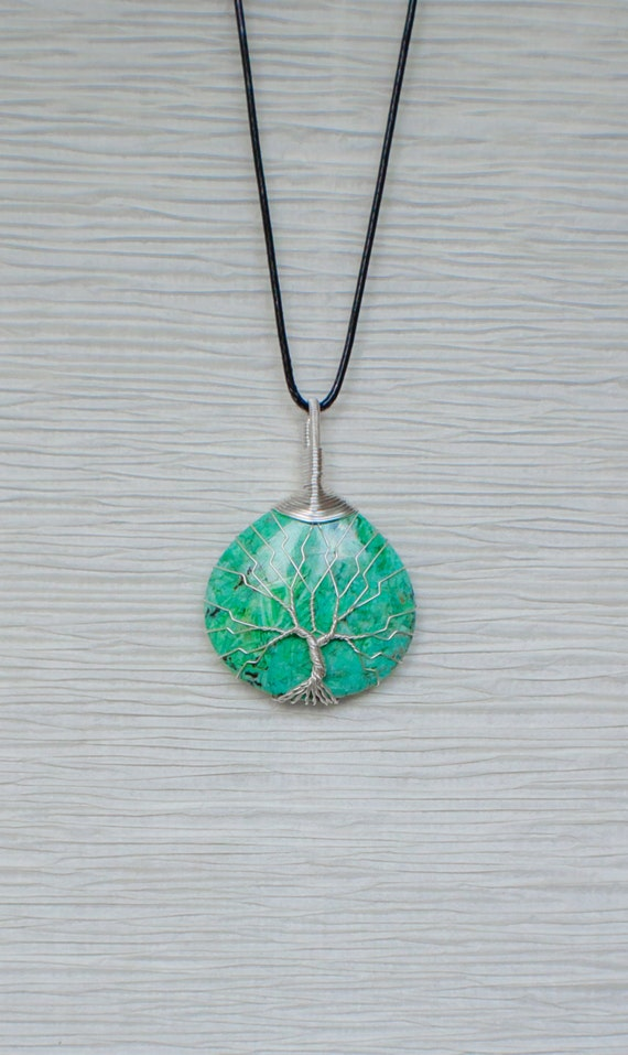 Tree of Life Silver wire wrapped Green Agate stone pendant