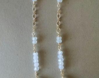 Moonstone Earrings in Gold, Handmade, Gemstone Earrings