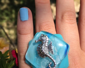 Seahorse Fused Glass Ring