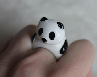 Panda ring / animal, cute / black and white / size 8.5