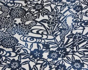 Katazome fabric/Bird and floral pattern/ Vintage Japanese Kimono silk fabric