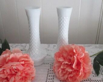 set of 2 white milk glass vases