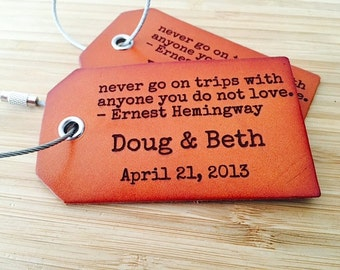 Boyfriend Birthday Gift Leather Luggage Tags, Ernest Hemingway Quote, Suitcase Tag, Baggage Identification Tag, Present For Girlfriend,