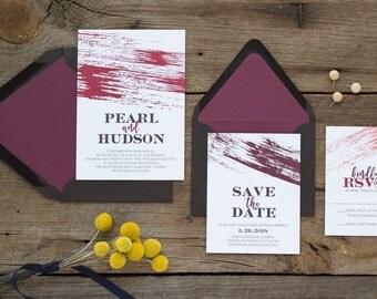 Pearl Suite -Wedding Invitation Suite, Modern Wedding Invites, Formal Invitation Set, Simple invitations, Watercolor wedding invitations