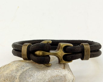 Custom Jewelry Mens leather bracelet .Black leather multi strap leather bracelet with bronz plated anchor clasp.Anchor bracelet.