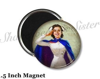 Nurse Magnet - Fridge Magnet - Military Magnet - 1.5 Inch Magnet - Kitchen Magnet - Vintage Nurse