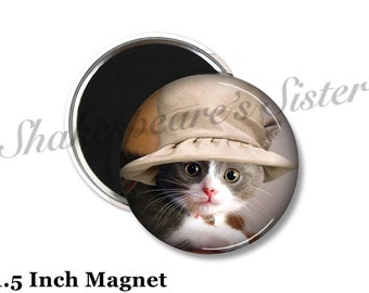 Cat Magnet - Fridge Magnet - Cute Cat - 1.5 Inch Magnet - Cat in Hat - Kitchen Magnet - Funny Magnet