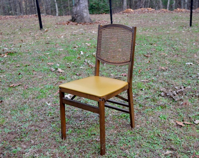 SOLD Vintage Stakmore Folding Chair Wooden Cane Seat Back Gold Vinyl  PanchosPorch