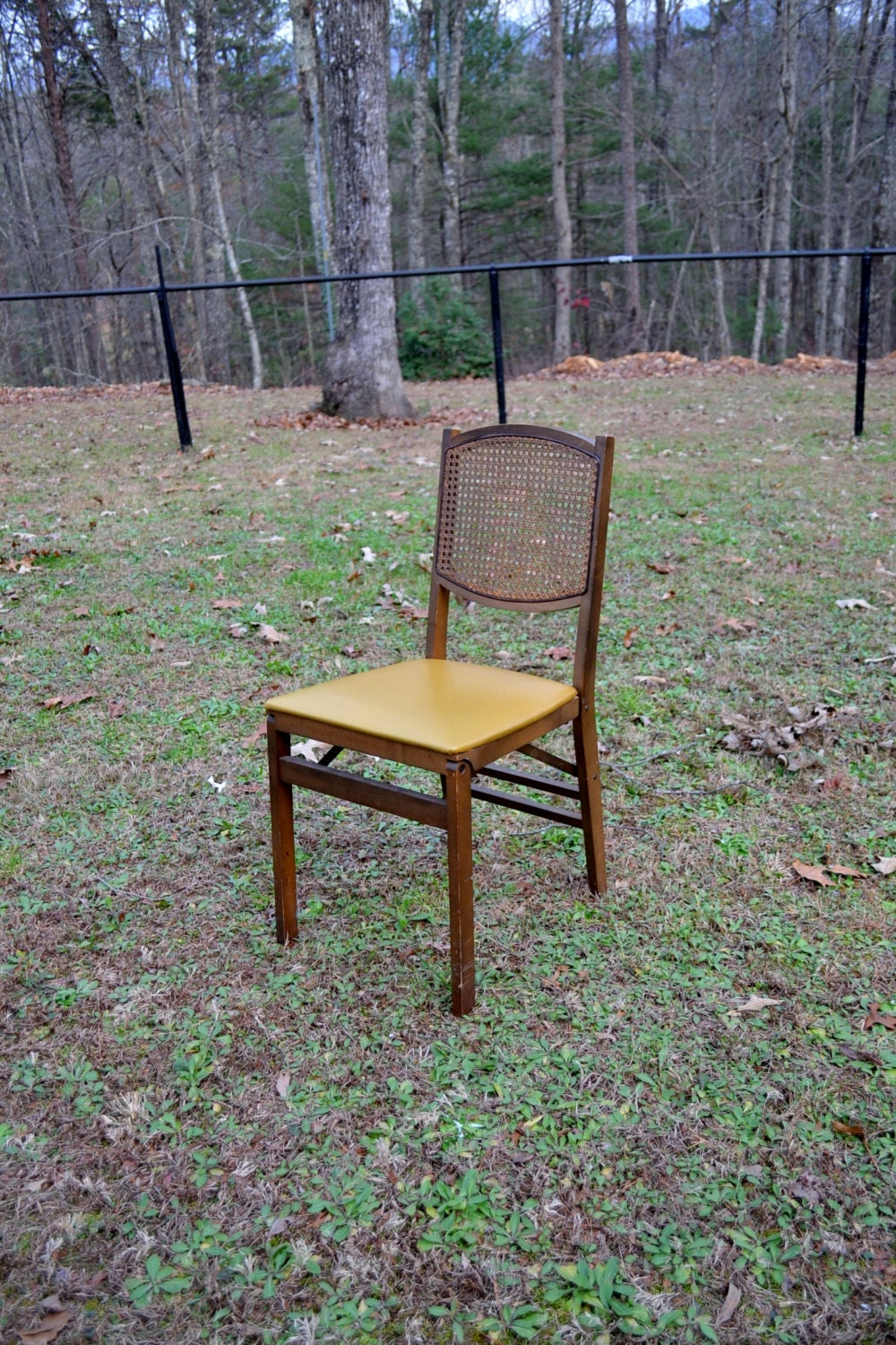 Vintage Stakmore Folding Chair Wooden Cane Seat Back Gold