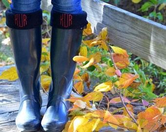 Monogrammed Fleece Boot Socks | Charles River New Englander Fold-over Boot Cuffs