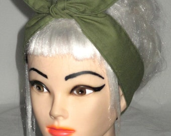 Rockabilly Bow Headband army green Pinup Vintage Retro Style 50s skinny narrow