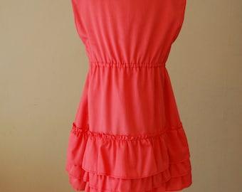 Coral Layered Ruffle Dress