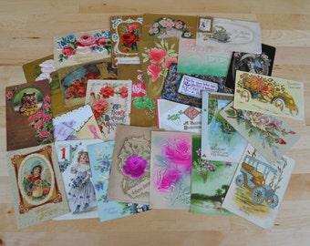 Lot of 25 floral antique postcards, paper ephemera