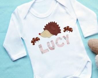 Personalised Hedgehog Baby Vest