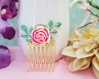 Pink and Teal Hair Comb, Fuchsia Hair Flower, Turquoise Leaf Comb, Dark Pink Bridesmaid, Teal Wedding, Hot Pink Wedding, Turquoise H2056
