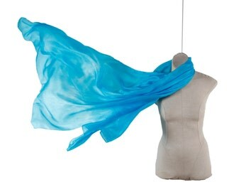 Light Turquoise silk scarf /  large summer scarf / magnificent light blue shawl / large sky blue silk wrap / girlfriend silk gift