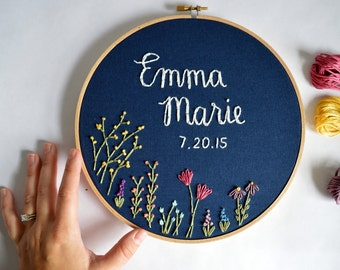 Custom Name Embroidery Hoop, Baby Name Embroidery, Nursery Wall Art, Embroidery Hoop Art, Baby Shower Gift, Wildflower Name Sign