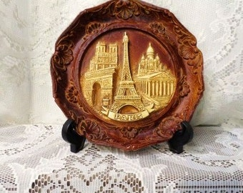 Depose Paris France Wall Plaque-Souvenir Faux Wood 3D Plate-Tourist Attraction-Vintage Travel Memorabilia-Vacation-Orphaned Treasure-092916