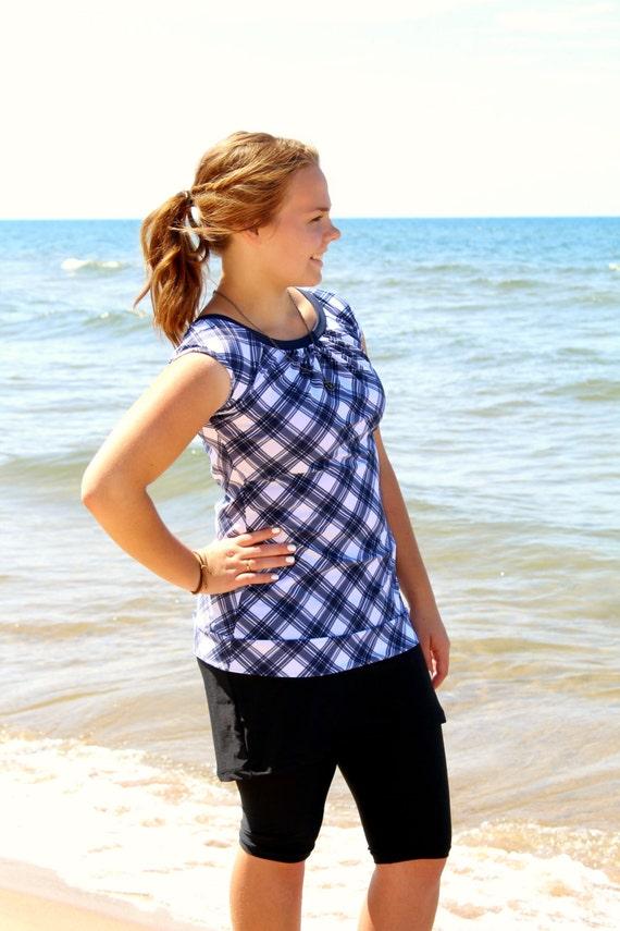 """Modest Swimwear, Swim Top for Women - Style """"Cora"""" - SwimTop, Tee, Shirt"""