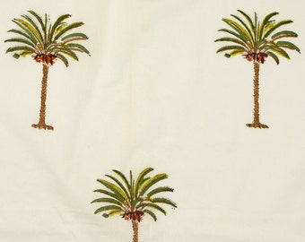 COTTON FABRIC 13 - Block printed with small single palm tree motif