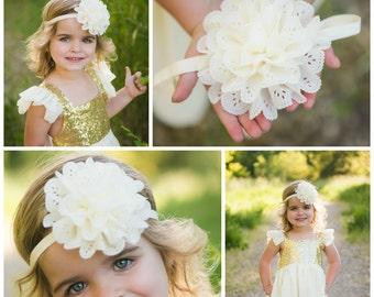 "Ready to ship! Large 4"" ivory eyelet lace flower hair bow hairbow headband"