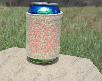 Monogrammed Burlap Beverage Holder