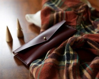 Long Wallet / Leather / Hand-Stitched / Card Holder / For Her
