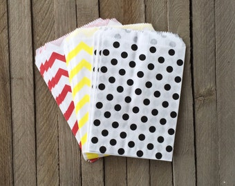 48 Yellow, Red, Black Favor Bag--Mickey Mouse Theme party--Chevron Favor Sack--Goodie Bag-- Party Sacks--Birthday Treat Sacks