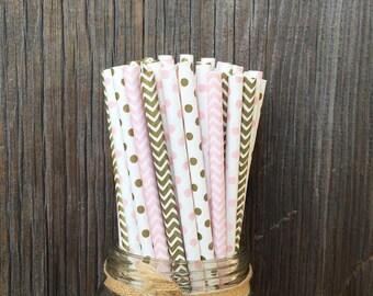 Paper Straws, 100 Gold Straws, Pink Birthday Straws, Wedding Supply, Baby Shower, Free Shipping