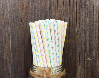 Pastel Paper Straws, 100 Pastel Dot Straws, Blue and Pink, Mint and Yellow, Baby Shower Straws, Paper Straws, Free Shipping