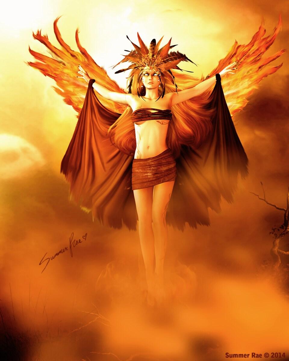 phoenix art valkyrie art fantasy art inspirational art