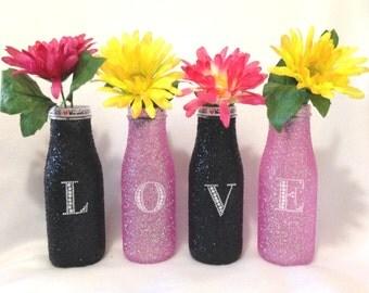 Bottle Decor, Pink Decor, Glitter Bottle, Tabletop Decor,  Romantic Decor, Pink and Black,  Love,  Black Decor, Flower Vases, Glitter Decor