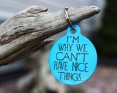 Funny Pet Tags, Dog ID,Im why we can't have nice things,Personalized Pet tag, ID tag, Dog tag,USA made, Michigan, Blue Fox Gifts, PET_107