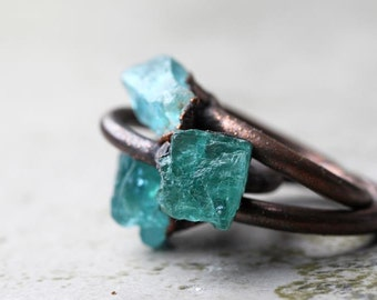 Apatite Ring Electroformed Copper Ring Stone Ring Natural Stone Delicate Ring Bright Blue Apatite
