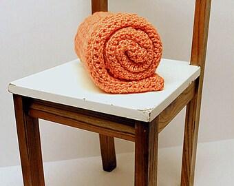 Coral Crochet Baby Blanket, Chunky Security Blanket, Receiving Blanket, Baby Girl , Baby Boy, Heirloom Crib Blanket, Stroller Blanket
