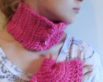 Pink Wool Cowl and Texting Glove Set