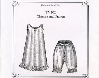 Truly Victorian Chemise and Drawers Sewing Pattern / Victorian Underwear / Multi-sized pattern / TV102