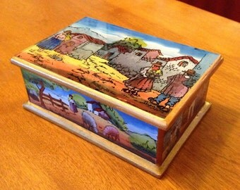 Rustic Handpainted Mexican Village Scene Glass and Wood Box