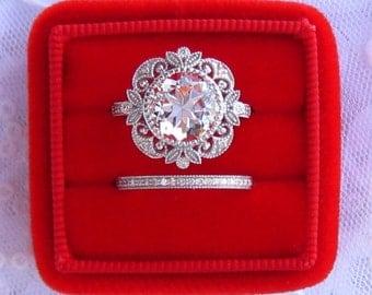Diamond Engagement Ring And Wedding Band, White Topaz in White Gold Milgrain Bezel Filigree Engagement Ring, Vintage Inspired Wedding Set