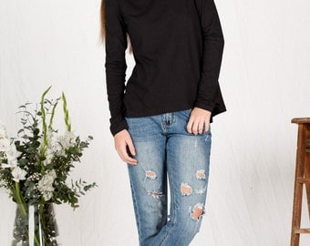 SALE!! Organic cotton long sleeve black top