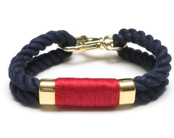 Nautical Rope Bracelet / Navy Red Rope Bracelet / Navy Blue Rope Bracelet / Gold Nautical Bracelet / Nautical Jewelry / Nautical Gift