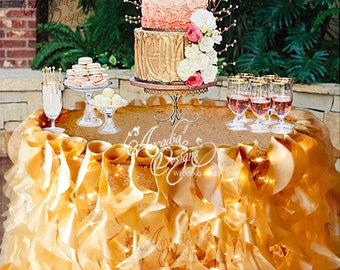 Ruffle Sequin tablecloth Willow Table Skirt and Optional String Lights for Fairy Light Wedding Sweetheart Cake Table Head Table Bridal Event