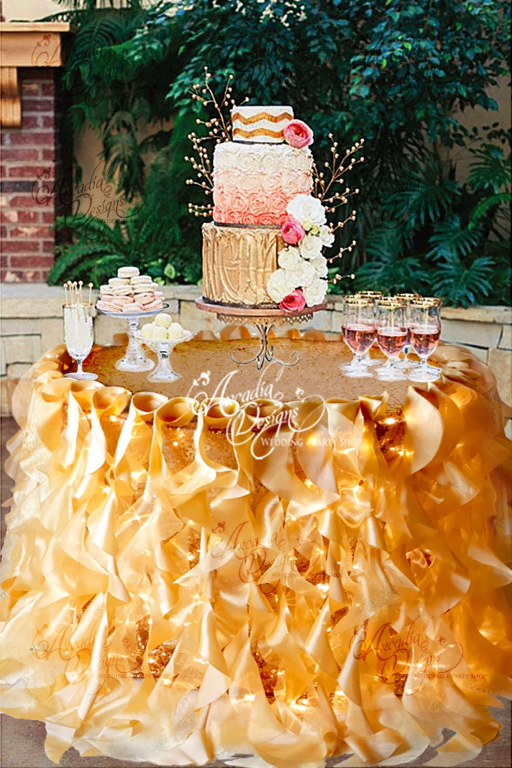wedding cake table skirt ruffle sequin tablecloth willow table skirt and optional 26200