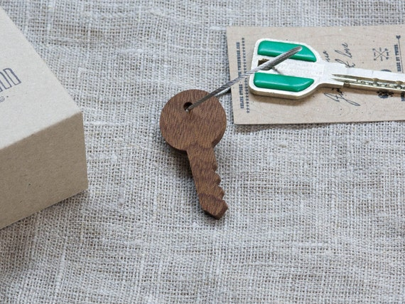 Wood  Keychain Key Chain Key Fob, Custom Personalized Laser Engraved Keychain. Gift for key. Real wood. Steel cable included.