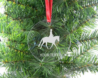 Personalized Custom equestrian horse riding Clear Acrylic Christmas Tree Ornament
